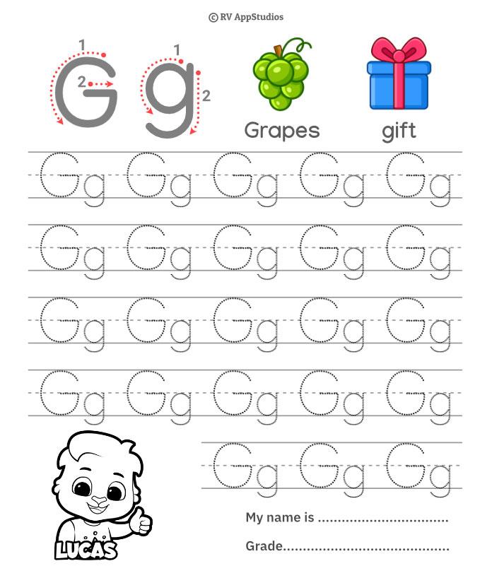 Trace Alphabet Letter Gg Worksheets