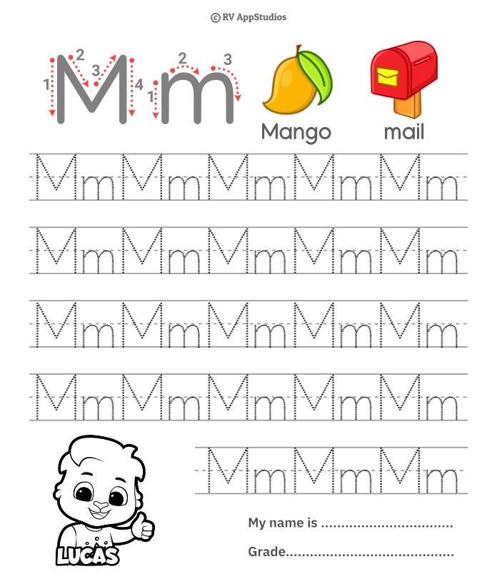Trace Alphabet Letter Mm Worksheets