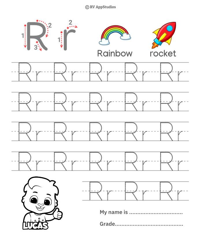 Trace Alphabet Letter Rr Worksheets