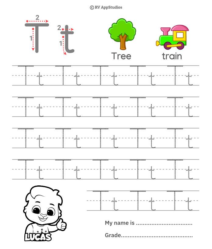 Trace Alphabet Letter Tt Worksheets