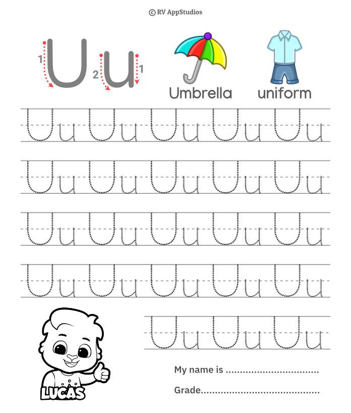 Trace Alphabet Letter Uu Worksheets