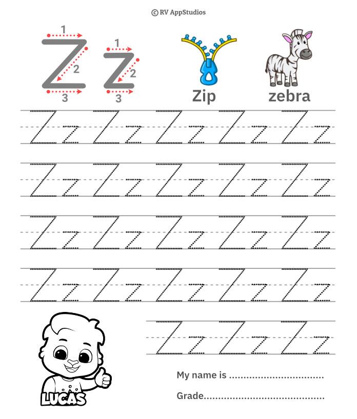 Trace Alphabet Letter Zz Worksheets