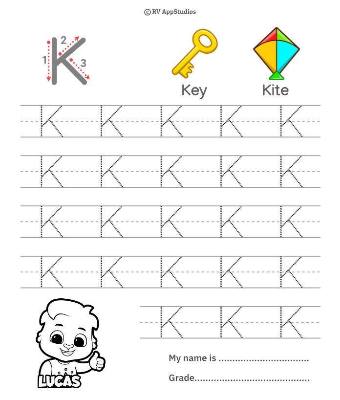 Uppercase Letter K Tracing Worksheets