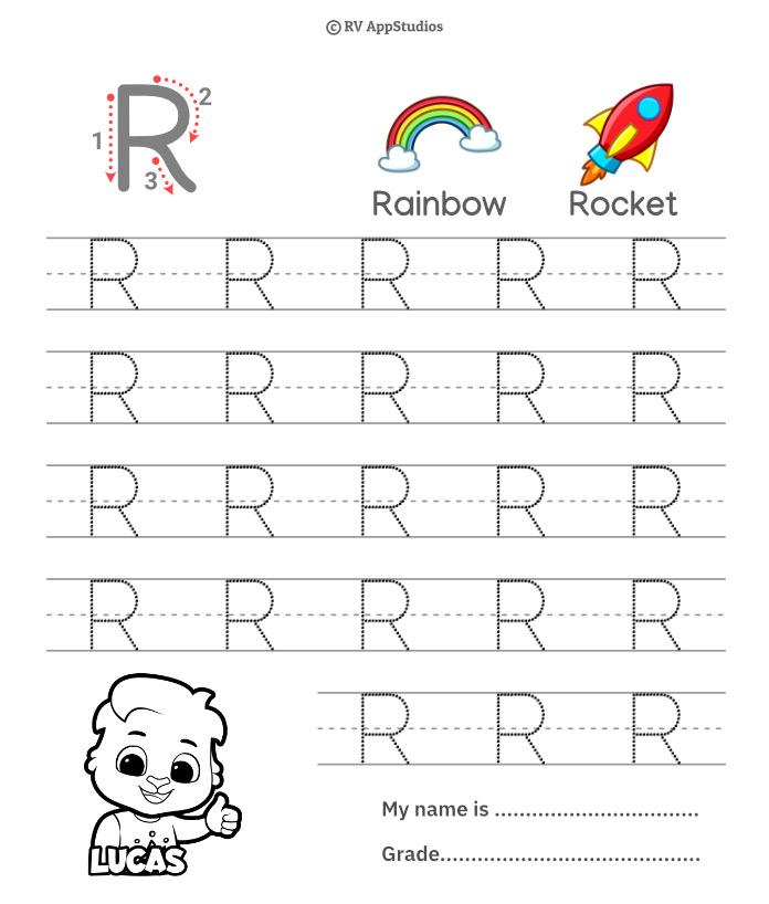 Uppercase Letter R Tracing Worksheets