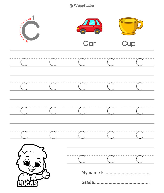 Lowercase Alphabet c Tracing Worksheets | Letter c Trace and Write