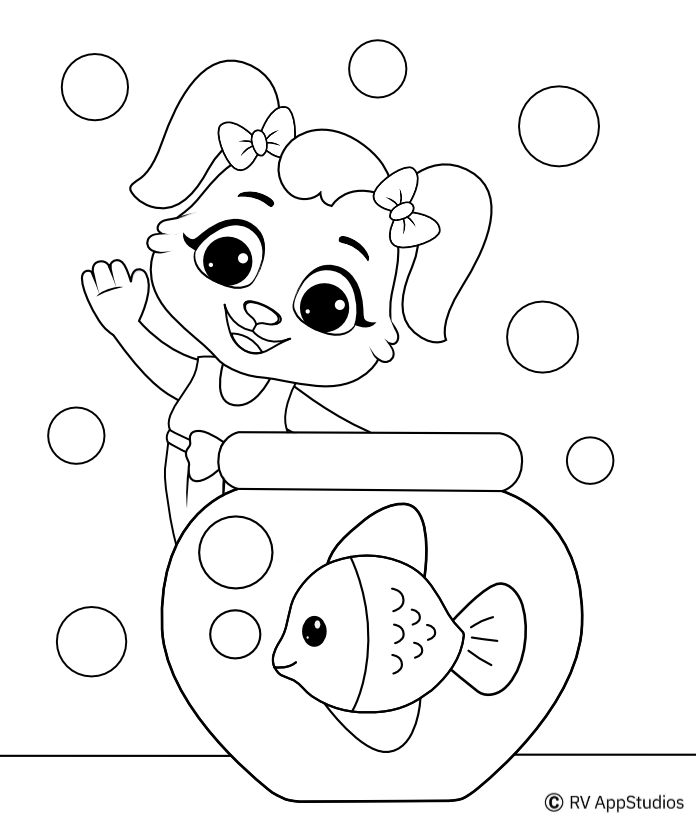 Printable Fish Aquarium  Coloring Pages