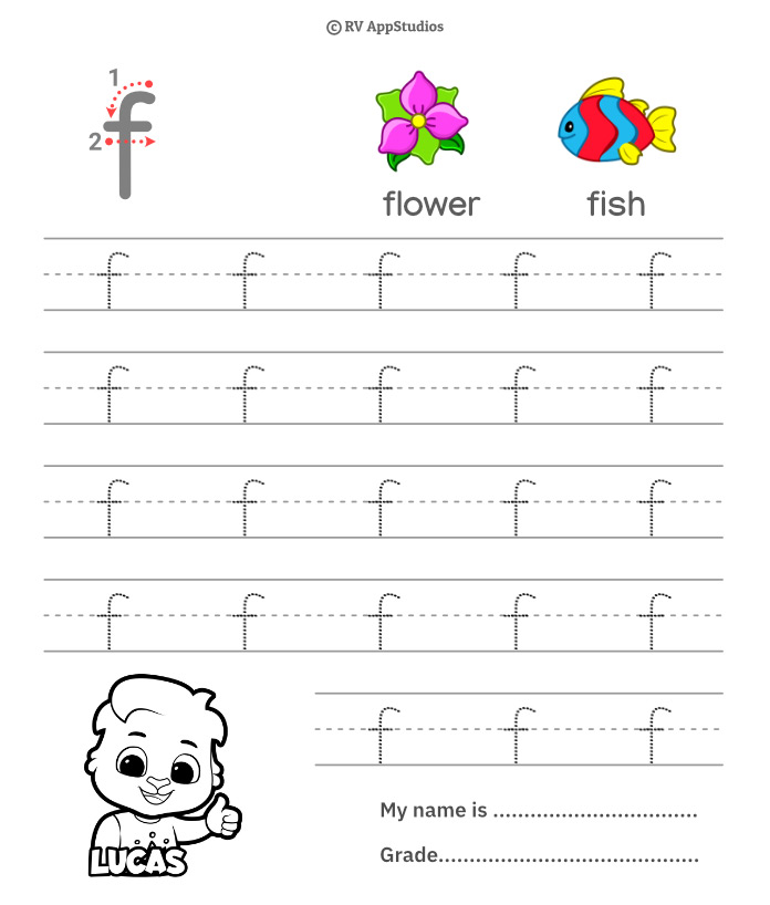 Lowercase Alphabet f Tracing Worksheets | Letter f Trace and Write