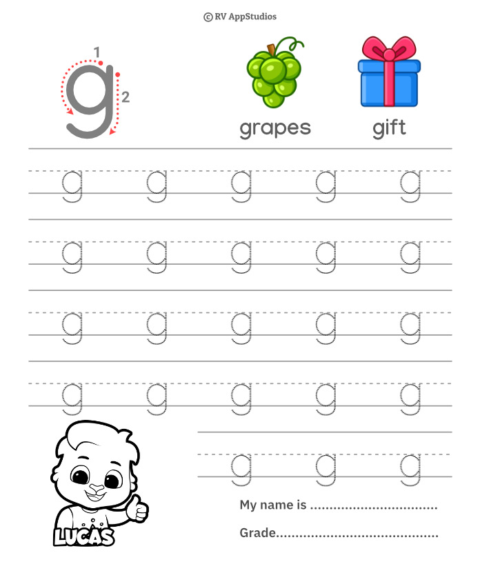 Lowercase Alphabet g Tracing Worksheets   Letter g Trace and Write