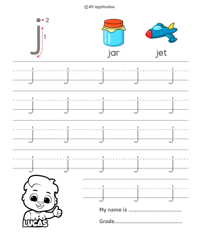 Lowercase Alphabet j Tracing Worksheets | Letter j Trace and Write