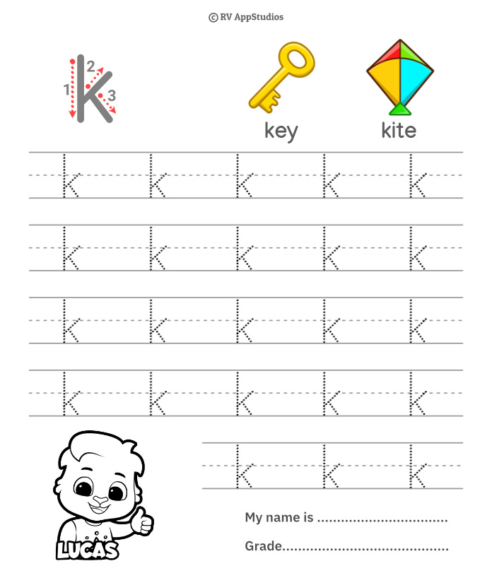Lowercase Alphabet k Tracing Worksheets   Letter k Trace and Write