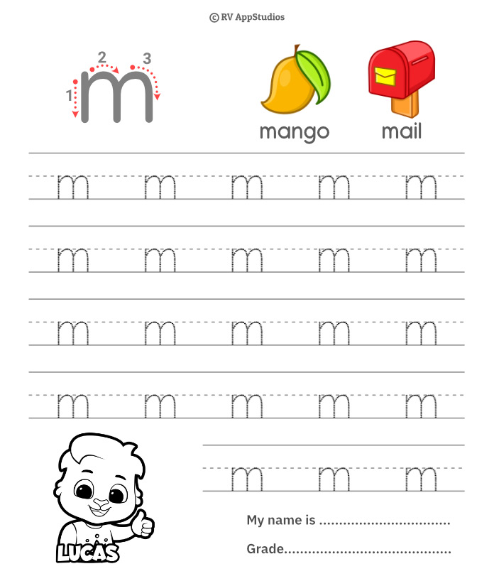 Lowercase Alphabet m Tracing Worksheets | Letter m Trace and Write
