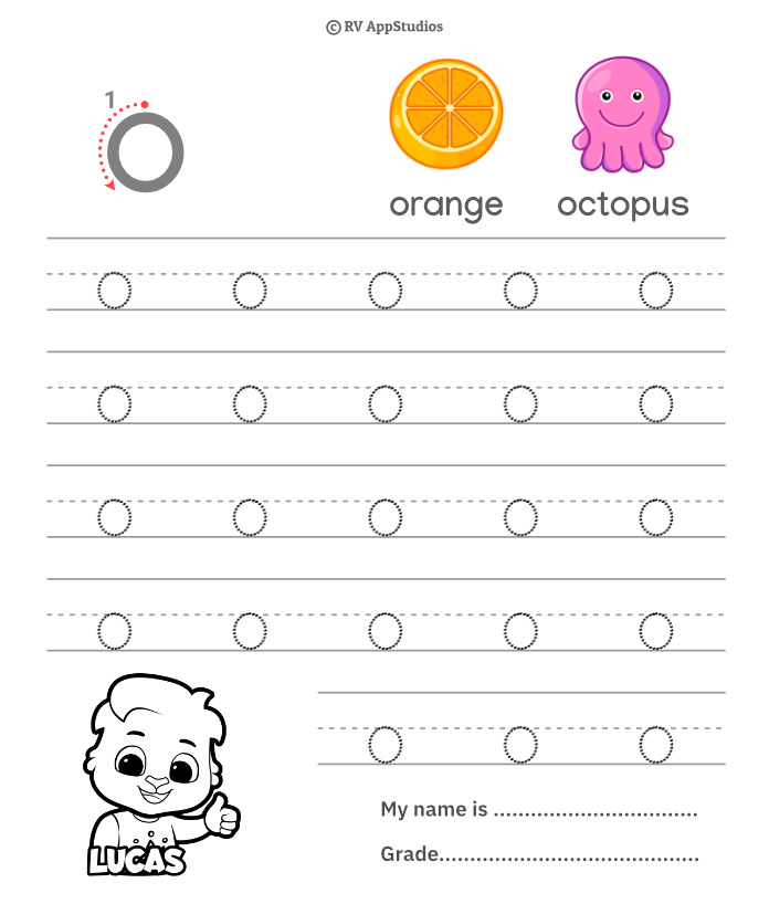 Lowercase Alphabet o Tracing Worksheets | Letter o Trace and Write