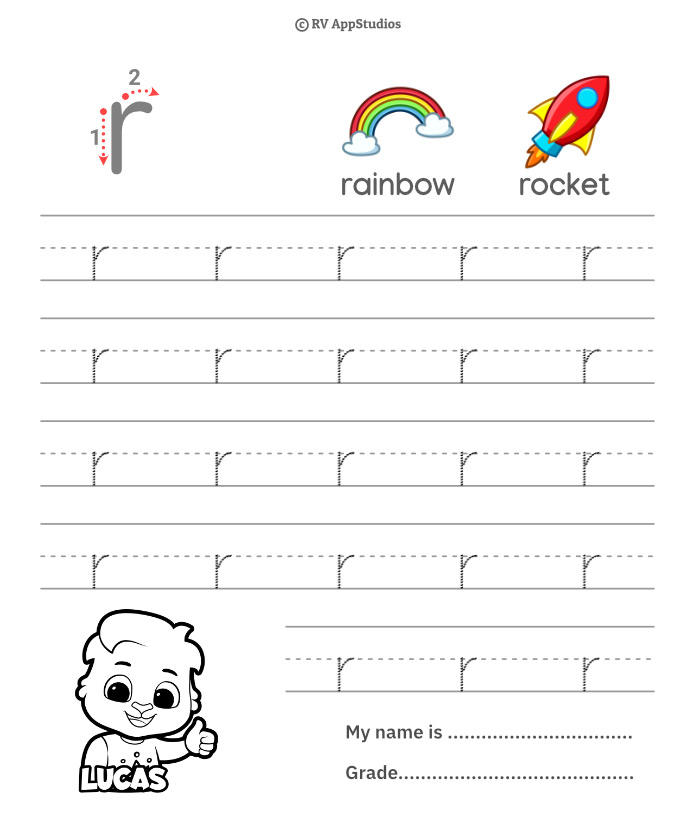 Lowercase Alphabet r Tracing Worksheets   Letter r Trace and Write