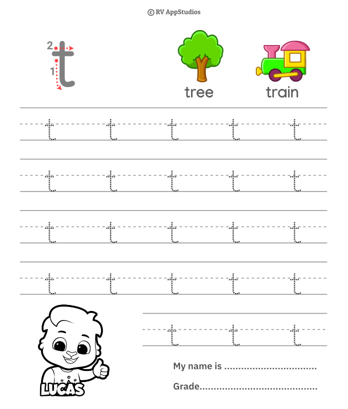 Lowercase Alphabet t Tracing Worksheets   Letter t Trace and Write