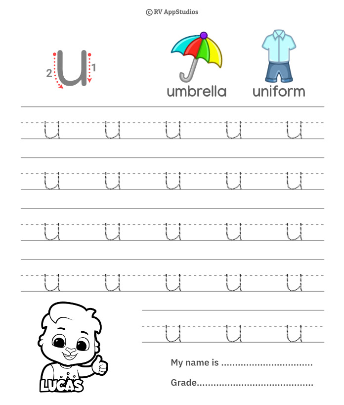 Lowercase Alphabet u Tracing Worksheets | Letter u Trace and Write