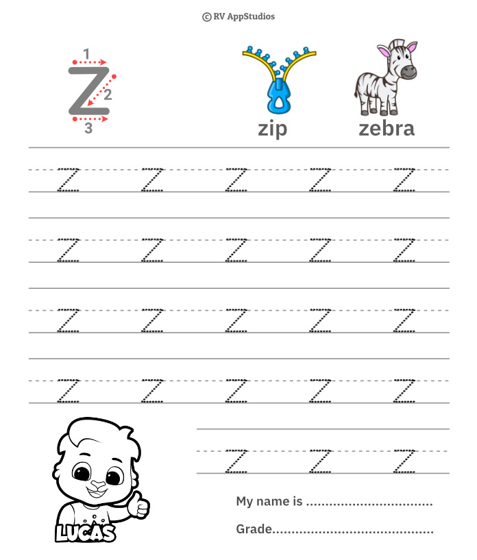 Lowercase Alphabet z Tracing Worksheets | Letter z Trace and Write