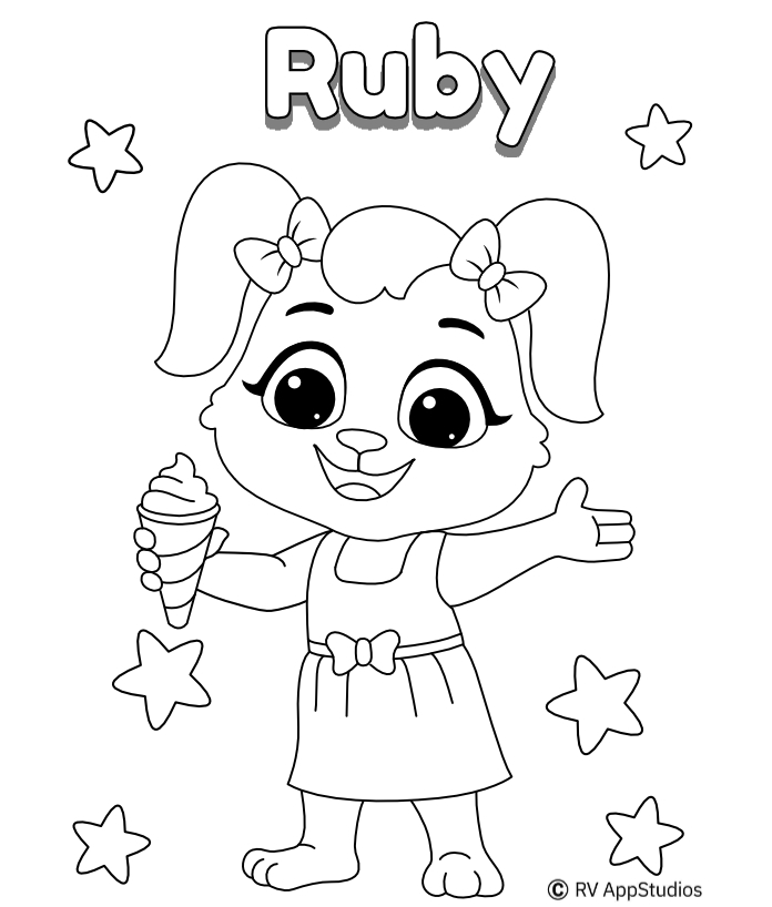 Printable Happy Ruby Coloring Pages