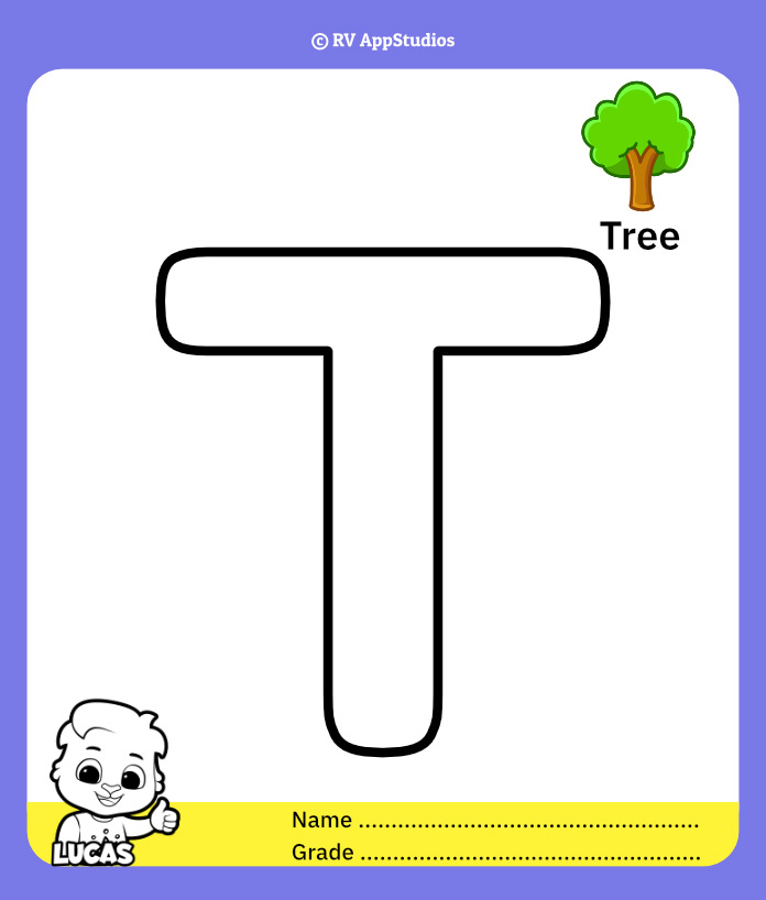 Coloring Page for Letter T