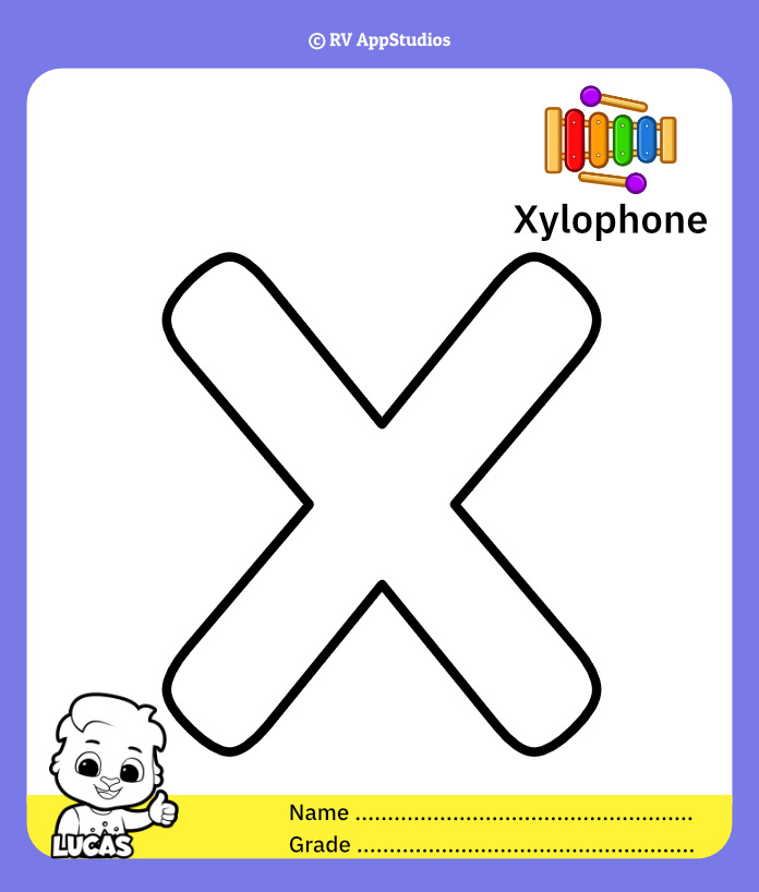 Coloring Page for Letter X