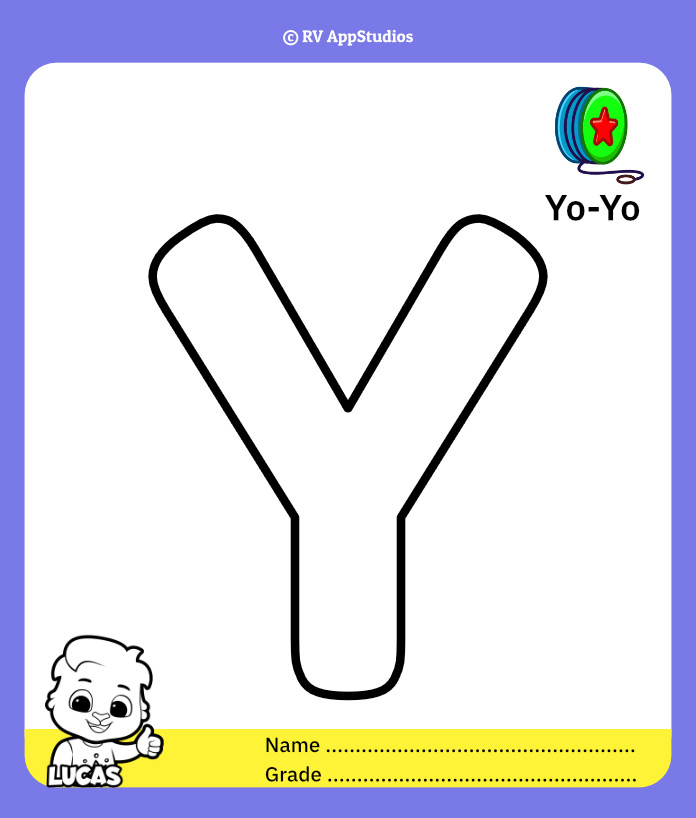 Coloring Page for Letter Y