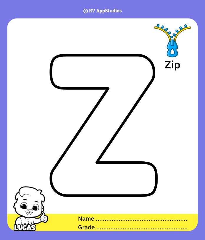 Coloring Page for Letter Z