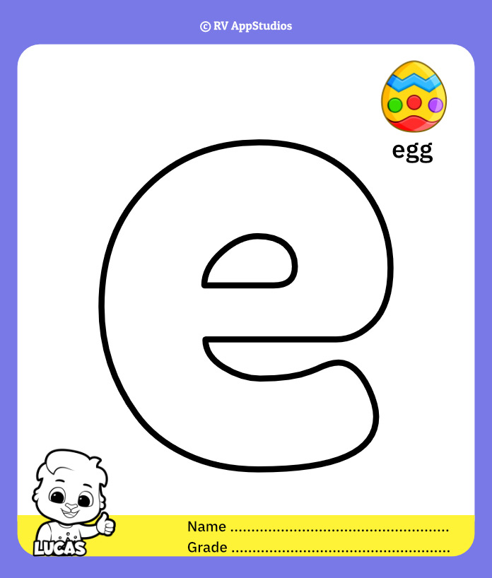 Coloring Pages for Alphabet e