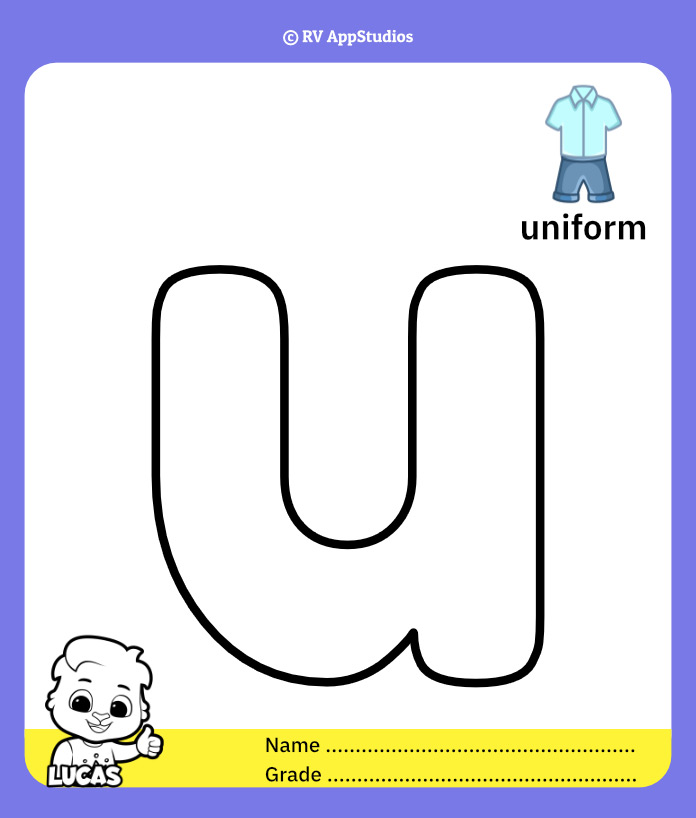 Coloring Pages for Alphabet u