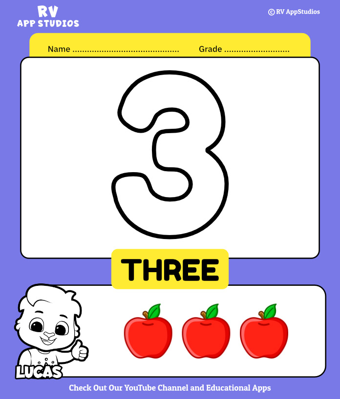 Number 3 Coloring Book