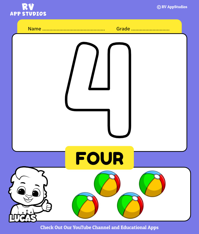 Number 4 Coloring Book
