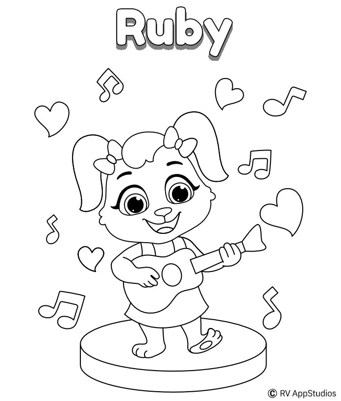 Printable Playing Guitar Coloring Pages