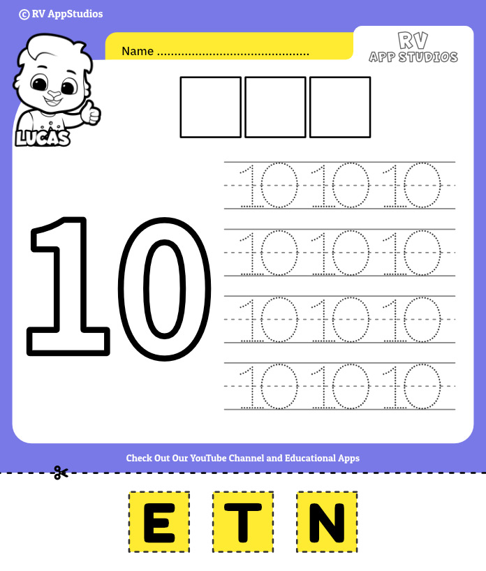 Number 10 Cut and Past Worksheet