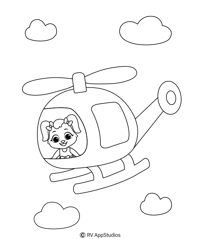 Helicopter Coloring Page - Helicopter Rotor , Transparent Cartoon ... | 818x696