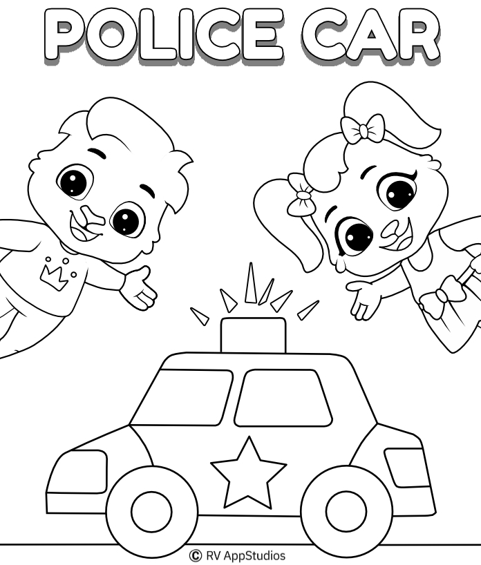 Police Car Coloring Pages Print