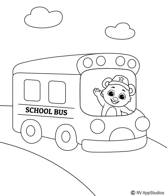 Printable School Bus-1 Coloring Pages