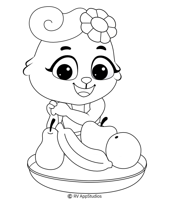 Printable Fruits-1 Coloring Pages