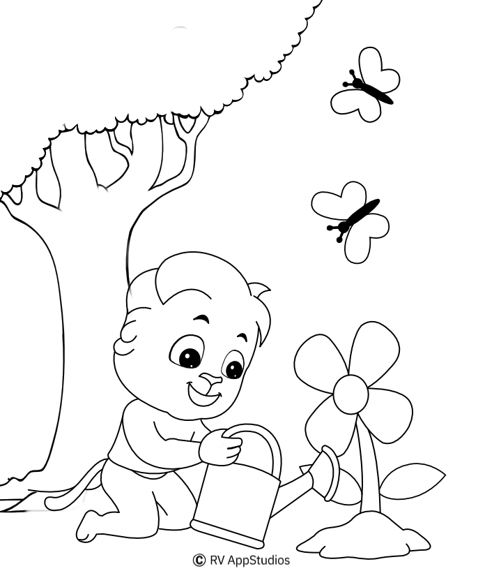 Printable Watering Coloring Pages