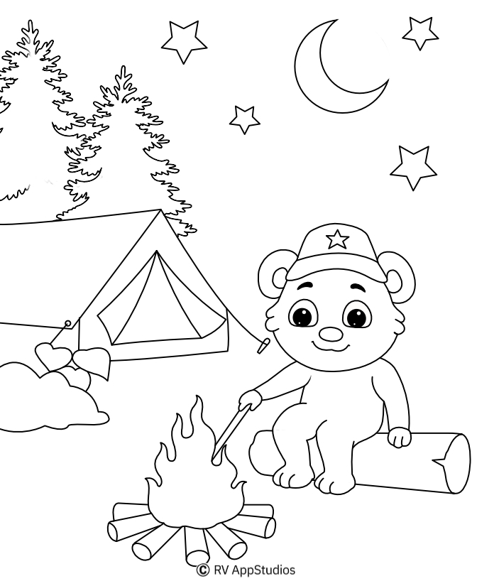 Free Campfire Coloring Page