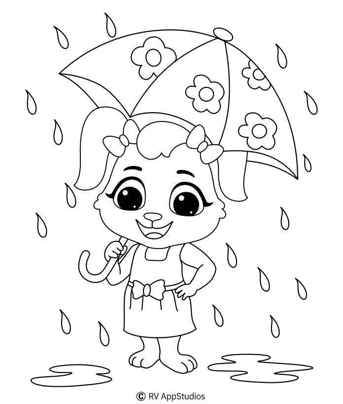 Printable Rain-1 Coloring Pages