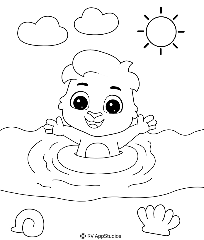 Beach coloring pages for kids | Free Beach Coloring Printables