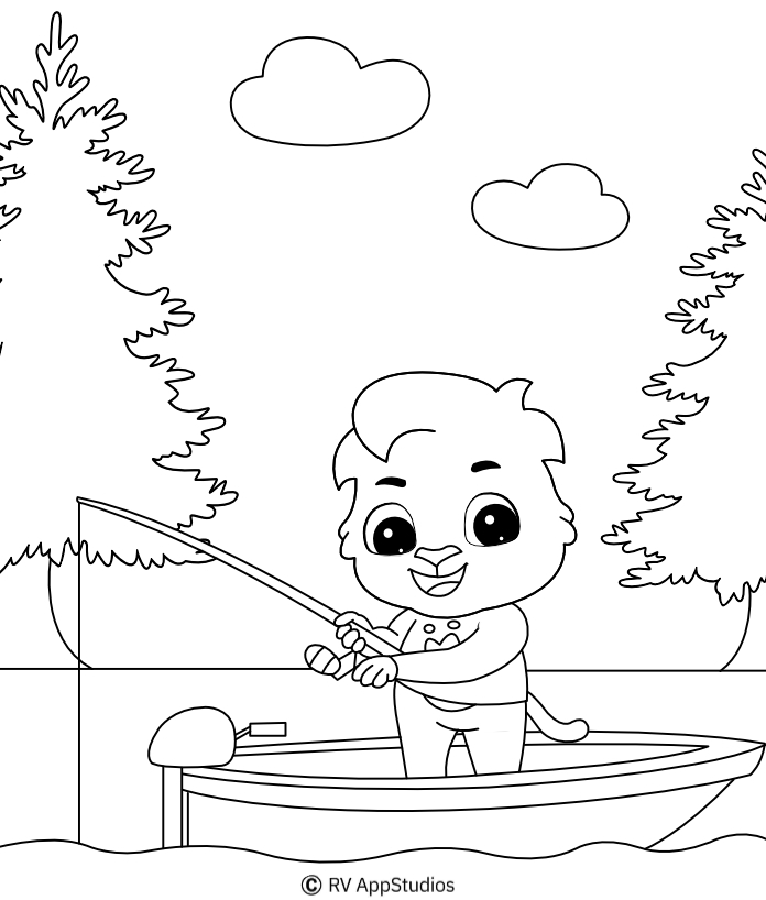 Printable Fishing Coloring Pages