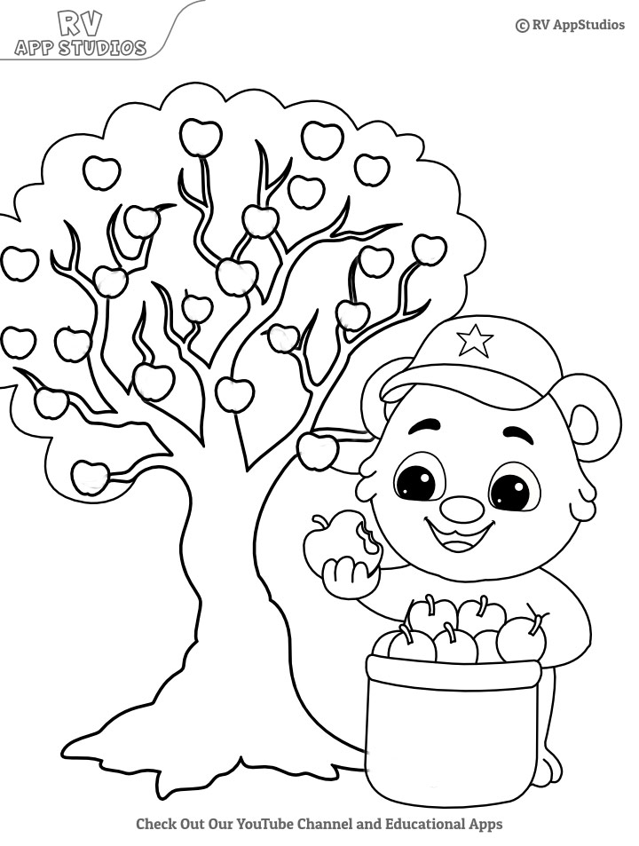 Flowering Apple Tree coloring page | Free Printable Coloring Pages | 953x720